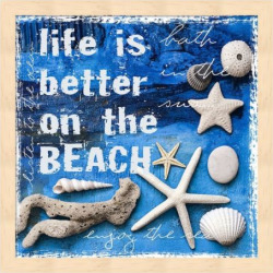 "Metaverse Art ""Life is Better on the Beach"" Framed Wall Art, Multicolor"