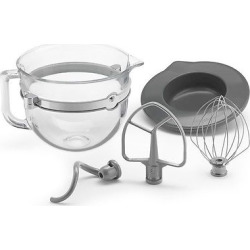 KitchenAid F-Series 6-Quart Glass Bowl Accessory Bundle – KSMF6GB, Clear