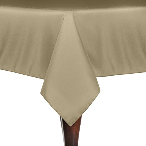 Ultimate Textile (5 Pack) 60 x 120-Inch Rectangular Polyester Linen Tablecloth – for Wedding, Restaurant or Banquet use, Camel Light Brown