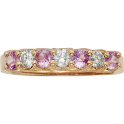 The Regal Collection Pink Sapphire and 1/3 Carat T.W. IGL Certified Diamond 14k Rose Gold Ring, Women's, Size: 7