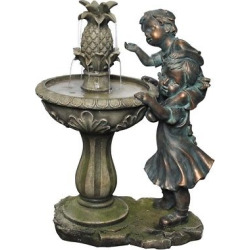 Alpine Corporation 27 Boy and Girl with Pineapple Fountain – Multi Color, Multi-Colored