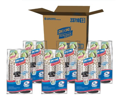 Dixie Perfectouch Paper Cups and Lids 52 Count (Pack-of-6) Super Pack 312 Cups & Lids