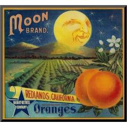 Art.com Moon Orange Label – Redlands, CA by Lantern Press – Mounted Print, Multi-Colored
