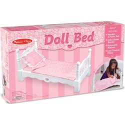Melissa and Doug Wooden Doll Bed, Multicolor