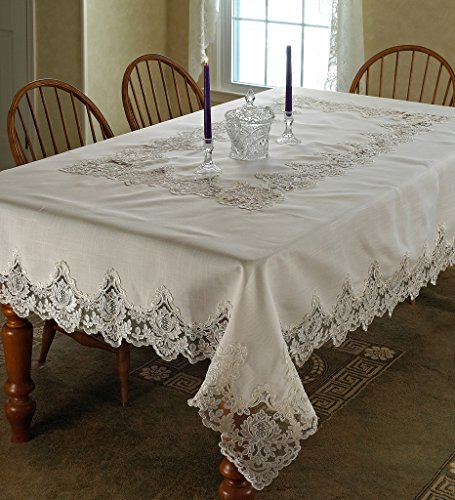 Violet Linen Imperial Embroidered Vintage Lace Design Oblong/Rectangle Tablecloth, 70″ x 120″, Cream
