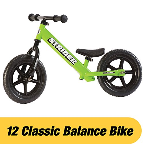 Strider – 12 Classic No-Pedal Balance Bike, Ages 18 Months to 3 Years, Green