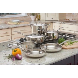 Cuisinart Chef's Classic Stainless Steel 10 Piece Cookware Set – 77-10, Silver
