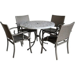 Capri Concrete Stenciled 5 Pc Round Outdoor Table And 4 Chairs – Gray – Home Styles
