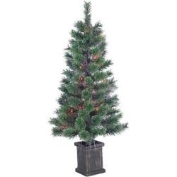 3.5′ Pre-Lit Artificial Christmas Tree Fiber Optic Porch Pot Cashmere Pine – Multicolored Lights, Green