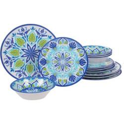 Certified International Morocco 12-piece Melamine Dinnerware Set, Blue
