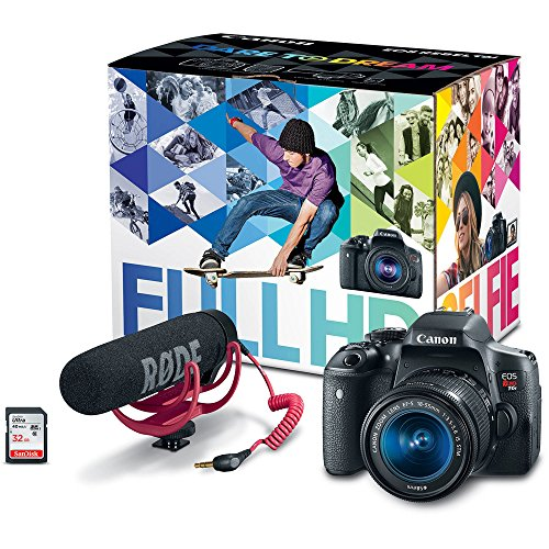 Canon EOS Rebel T6i Video Creator Kit with 18-55mm Lens, Rode VIDEOMIC GO and Sandisk 32GB SD Card Class 10 – Wi-Fi Enabled