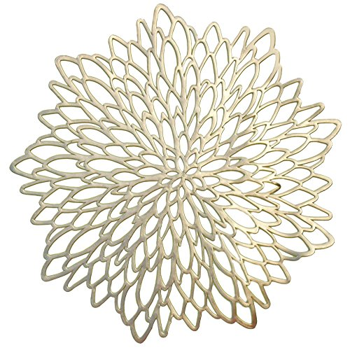 OCCASIONS Pressed Vinyl Metallic Placemats/Charger/Wedding Accent Centerpiece (120 pcs, Round Gold Leaf) …