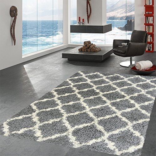 Ottomanson Ultimate Shaggy Collection Moroccan Trellis Design Shag Rug Contemporary Bedroom and Living room Soft Shag Rugs, Grey, 6'7″ L x 9'3″ W
