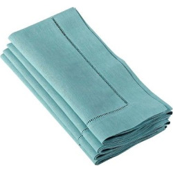 Hemstitched Dinner Napkins Sea Green (Set of 12)