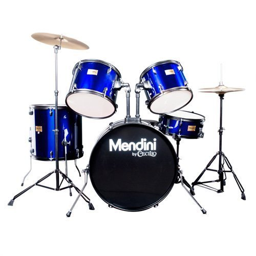 Mendini by Cecilio Complete Full Size 5-Piece Adult Drum Set with Cymbals, Pedal, Throne, and Drumsticks, Metallic Blue, MDS80-BL