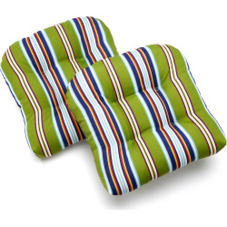 Edie Inc. Classic Stripe Indoor Outdoor 2-pk. Contour Chair Pads, Green