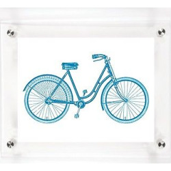 Mitchell Black Bicycle Hers Decorative Framed Wall Canvas Royal (12″x15″), Royal Blue