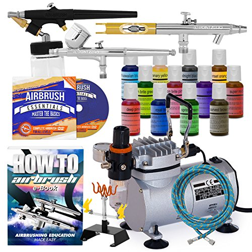 PointZero Cake Airbrush Decorating Kit – 3 Airbrushes, Compressor, and 12 Chefmaster Colors