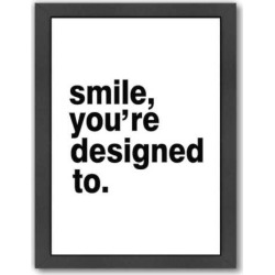 "Americanflat ""Smile, You're Designed To"" Framed Wall Art, Multicolor"
