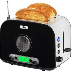 Elite Platinum 2-Slice Radio Toaster – Silver & Black