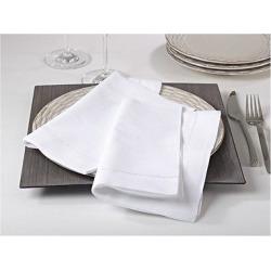 Hemstitched Dinner Napkins White (Set of 12)