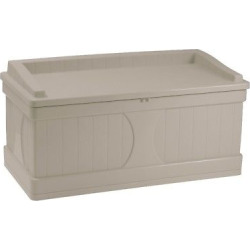 Suncast Deck Box with Seat Taupe (Brown) – 99 Gallon