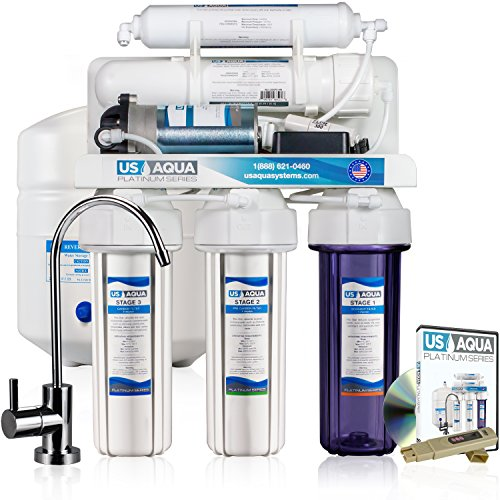 US Aqua Platinum Series Deluxe High Capacity 100GPD Under Sink Reverse Osmosis Purifier Drinking Water Filter System – Free Bonus PPM Meter and Installation DVD (5 Stage, With Pump)