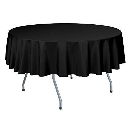 Ultimate Textile (10 Pack) 72-Inch Round Polyester Linen Tablecloth – for Wedding, Restaurant or Banquet use, Black