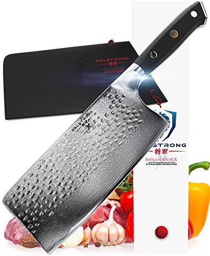 DALSTRONG Cleaver – Shogun Series X – AUS-10V- Vacuum Treated – 7″ Hammered – Sheath