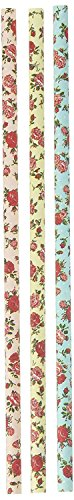 Charmed floral Roses Paper Straws 7.75 Inches 75 Pack Ivory, Light Blue, Pink (10 pack)