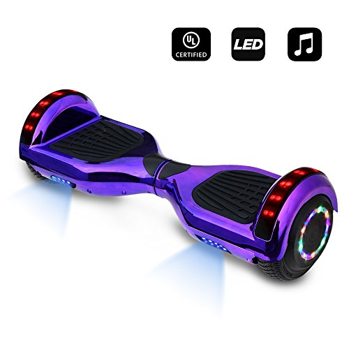 6.5″ inch Wheels Electric Smart Self Balancing Scooter Hoverboard With Bluetooth Speaker LED Light – UL2272 Certified (Chrome Purple)