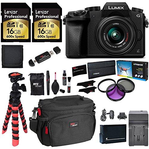 Panasonic LUMIX DMC-G7KK DSLM 4K Camera (Black), 14-42 mm Lens Kit, 16GB 2 Pack, Ritz Gear Tripod, Camera Bag, Cleaning Kit, Card Reader, Filter Kit, Battery, Charger and Accessory Bundle