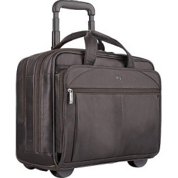 Solo Classic Leather 15.6 CheckFast Rolling Carry On Case – Espresso