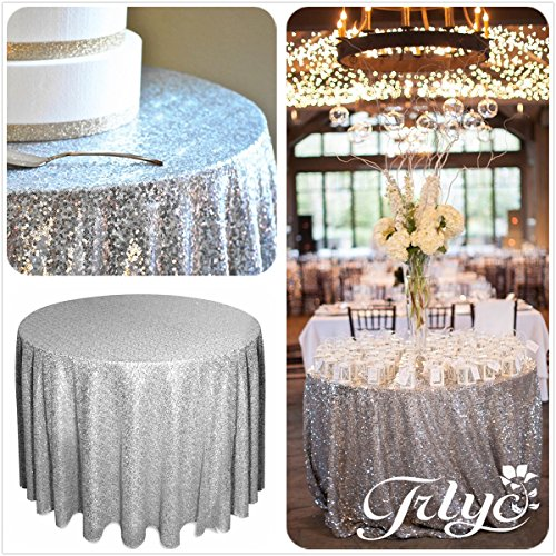 156″ Round Sparkly silver Sequin Table Cloth Sequin Table Cloth,Cake Sequin Tablecloths, Sequin Linens for Wedding