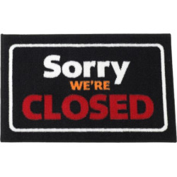 Fanmats Sorry We're Closed Rug, Black