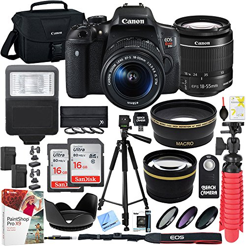 Canon T6i EOS Rebel DSLR Camera with EF-S 18-55mm f/3.5-5.6 IS II Lens and Two (2) 16GB SDHC Memory Cards (32GB total) Plus Triple Battery Tripod Cleaning Kit Accessory Bundle