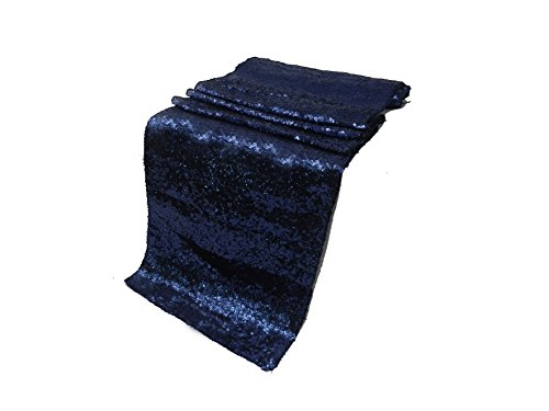 ELINA'S Pack of 10 Wedding 13 x 108 inch Sequin Table Runner Wedding Banquet Decoration (10, Navy Blue)