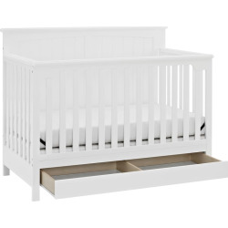 Storkcraft Davenport 5-in-1 Convertible Crib with Drawer, White