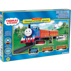 Thomas and Friends Thomas the Tank Engine Deluxe HO Scale Electric Train Set by Bachmann, Multicolor