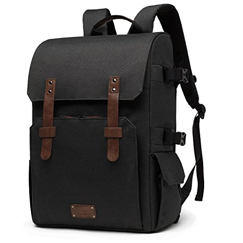 BAGSMART Camera Backpack for SLR/DSLR Cameras & 15.6″ Laptop with Waterproof Rain cover & Tripod Mount, Black.