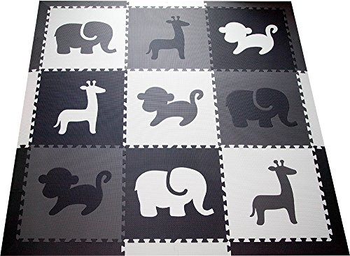SoftTiles Kids Foam Play Mat – Safari Animals Theme- Nontoxic Puzzle Play Mats for Children's Playrooms or Baby Nursery- Large Floor Tiles (6.5′ x 6.5′) (Black, Gray, White) SCSAFBGW