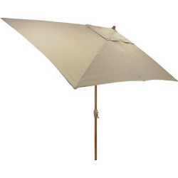 6.5′ x 10′ Rectangle Umbrella – Tan – Medium Wood Finish – Threshold