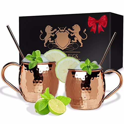B. WEISS Moscow Mule Copper mugs barrel shape Set Of 2, Handmade Hammered mugs- Premium Quality – 100% Pure Copper Comes in an elegant gift box+ 2 copper straws