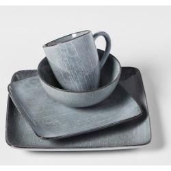 Solene Square Stoneware 16pc Dinnerware Set Gray – Project 62