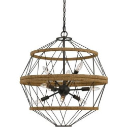 Cal Lighting Ozark Metal/Burlap Chandelier – Iron, Dark Silver