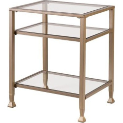 End Metal/Glass Table – Matte Khaki – Aiden Lane
