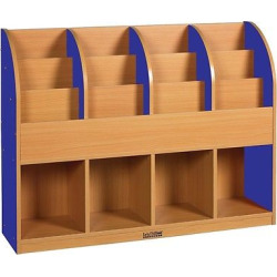 ECR4Kids Single-Sided Standard Book Stand – Blue, Blue/Wood