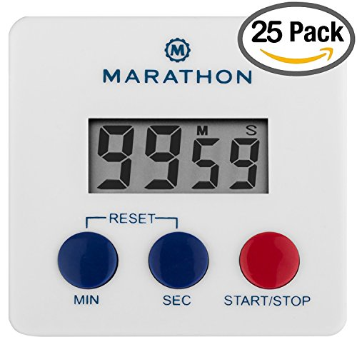 MARATHON TI080006WH-25PK Digital Kitchen Timer with Big Digits, Loud Alarm, Magnetic Back with Clip and Stand-White, Batteries Included
