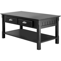 Timer Coffee Table, Drawers and Shelf – Black – Winsome