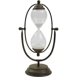 Decorative Metal and Glass Hour Glass (7-3-4″L x 14-1-2″H), Multi-Colored
